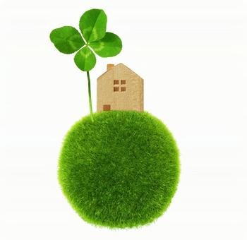 Four leaf clover and houses - White background