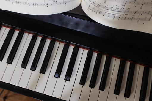Music score and keyboard