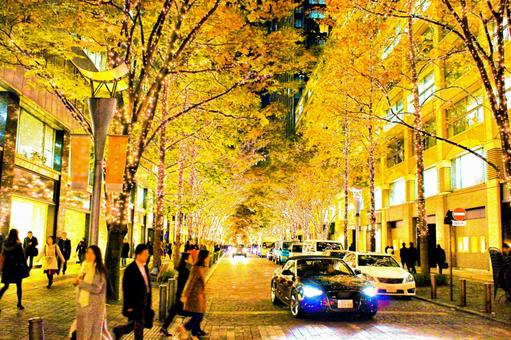 Marunouchi Christmas ginkgo lined with trees