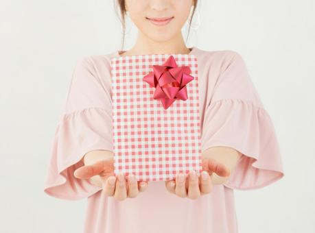 A woman with a present