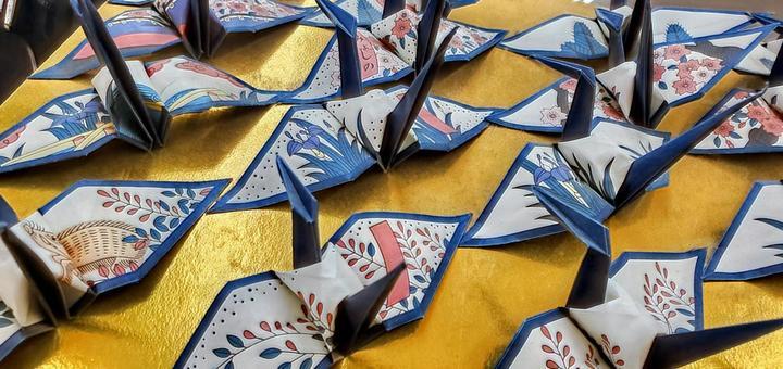Origami crane with Hanafuda pattern