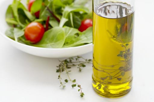 Herbal oil and salad