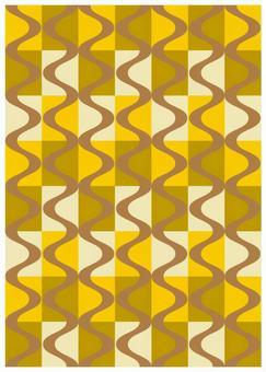 Scandinavian design grid and wave yellow