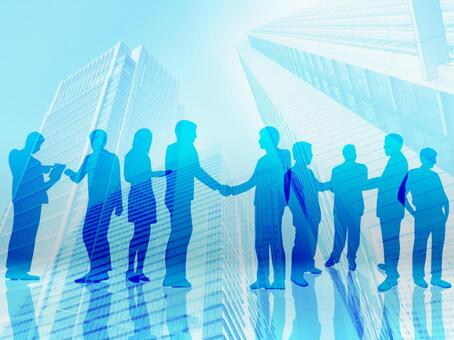 Abstract background material of the city with multiple businessmen shaking hands