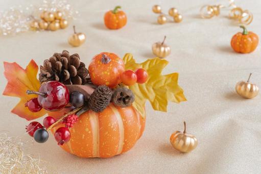 Orange pumpkin and autumn fruit decoration Halloween autumn