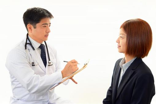 Smiley doctor and female patient