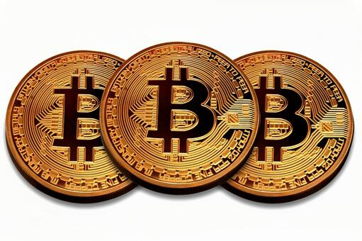 Overlapping bit coin white background