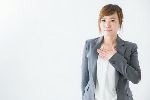 Female business person, chest, hands