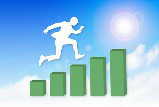 Graph of blue sky background and running businessman
