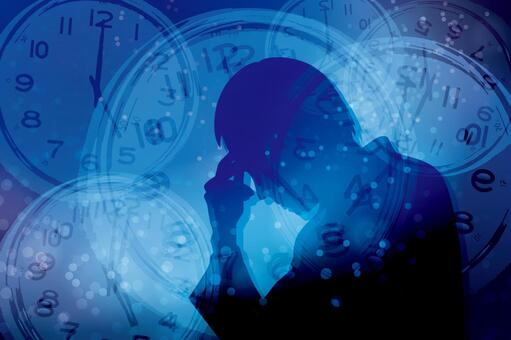 Men with stress and time-blue background