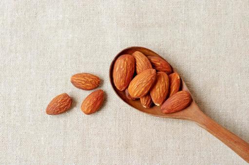 Almonds in a spoon
