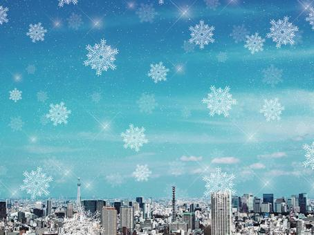 Snowy landscape in the city center