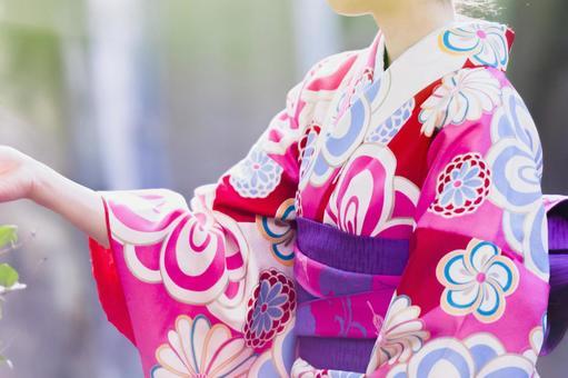 Kimono Woman in sunny clothes