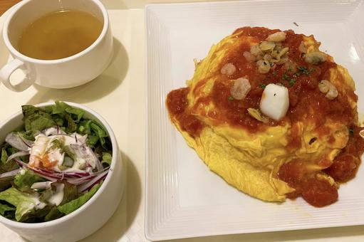 Omelet rice lunch Egg fluffy simmering soup salad