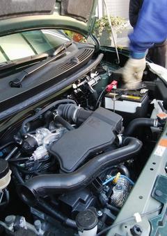Car maintenance / inspection work, car engine room