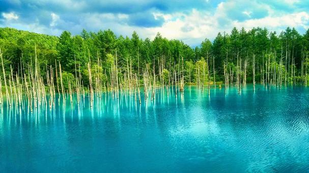 Hokkaido mysterious blue pond