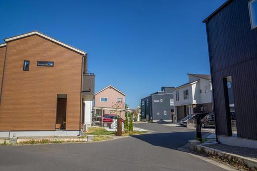 New residential area with newly built houses