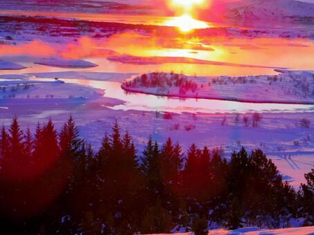 Icelandic sunrise and steam