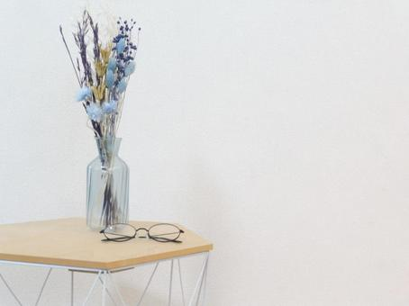 Dried flowers and table