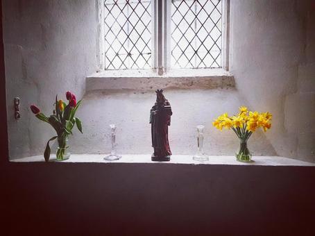 Church window prayer Maria overseas scenery