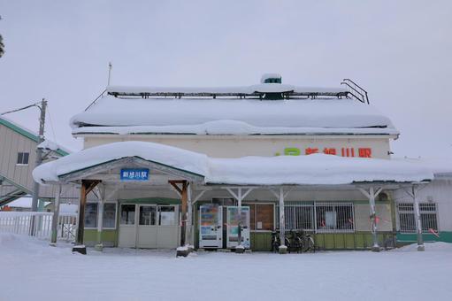 Station building of Shin-Asahikawa station buried in snow