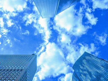 Urban skyscraper group 3 Sky blue