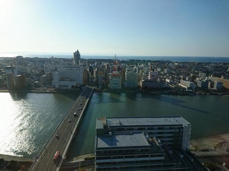 Bandai Bridge and Niigata Cityscape