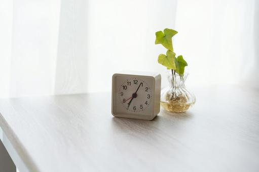 Small white table clock