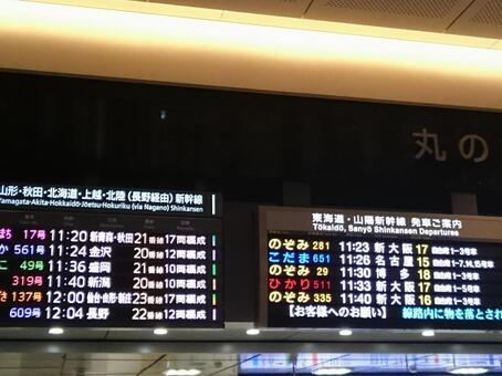 도쿄역 행선지 표시