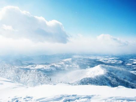 Look down from the winter mountain in Hokkaido