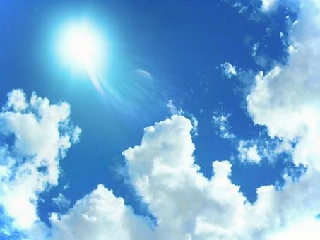 Strong sunshine and blue sky
