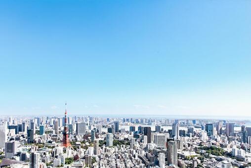 푸른 하늘과 도쿄 풍경