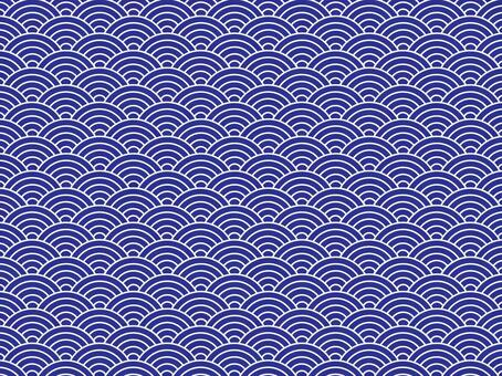 Japanese Pattern Texture Qinghai Wave Blue Land on the White Line