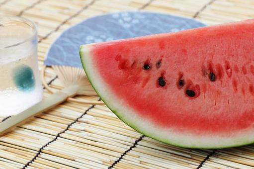 Watermelon and water and fans