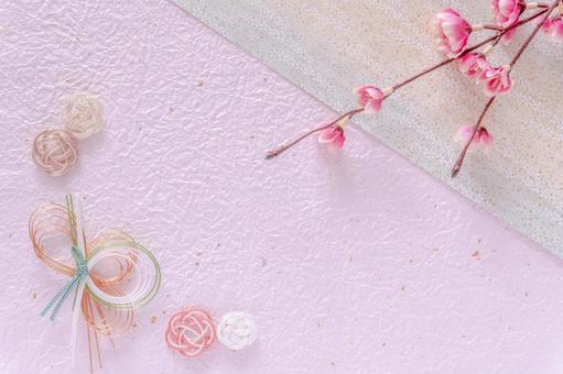 Japanese pattern background of plum and mizuhiki work