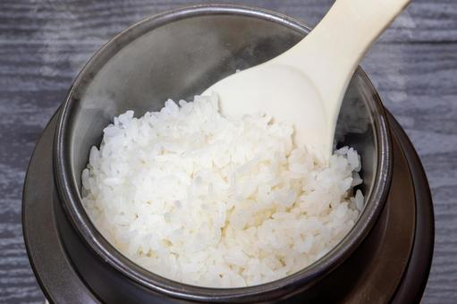 White rice cooked in a kettle