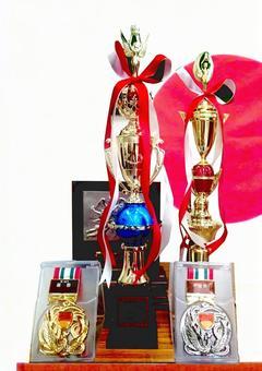 Trophy shield medal award ceremony