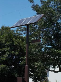 Solar-powered outdoor lights in a city park