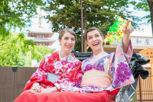 Women's Yukata rode rickshaw women Foreign tourists 28