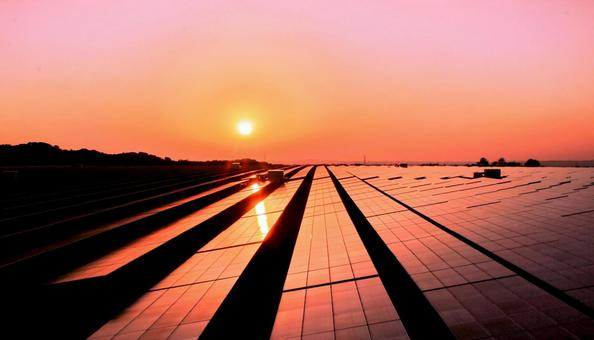 Sunset and solar power