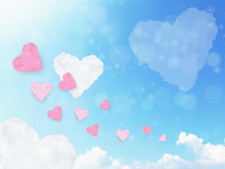 Heart floating in the sky