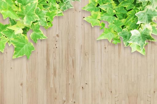 Wood grain texture and foliage plant background material