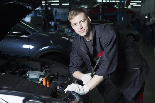 Automobile mechanic 1 with open bonnet