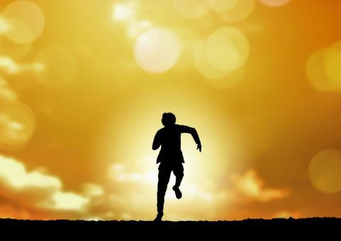 A man running against the sun